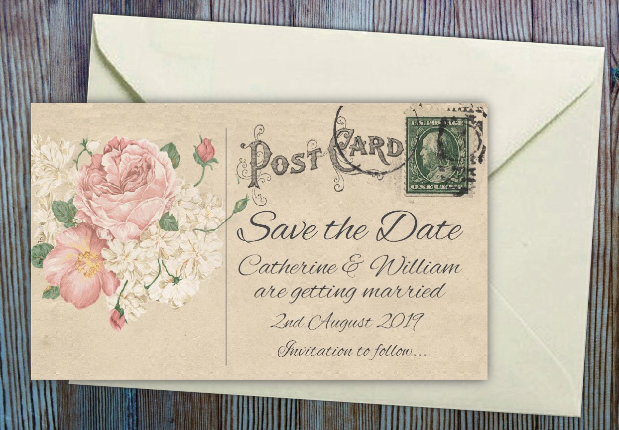50 SAVE THE DATE MAGNETS. Vintage Roses Wedding Magnets Personalised for You. Professional E-draft and Envelopes included. The Save the Date People