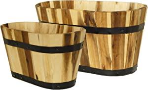 Classic Home and Garden 140011 Oval Barrel Set of 2 Planters, 1 Pack, Acacia