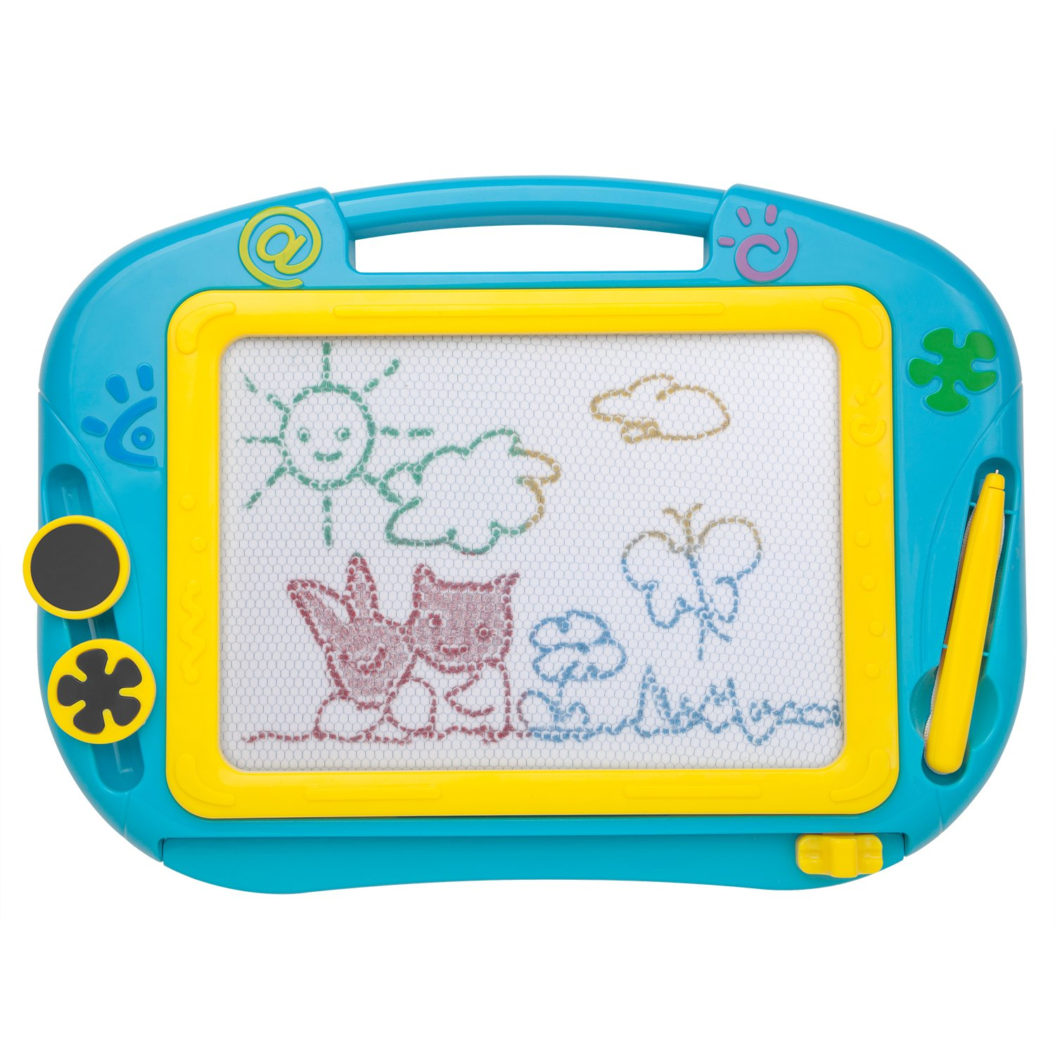 ikidsislands IKS88B [Travel Size] Color Magnetic Drawing Board Kids & Toddlers - Non Toxic Mini Magna Sketch Doodle Educational Toy Boys 1 Pen & 2 Stamps (Blue)