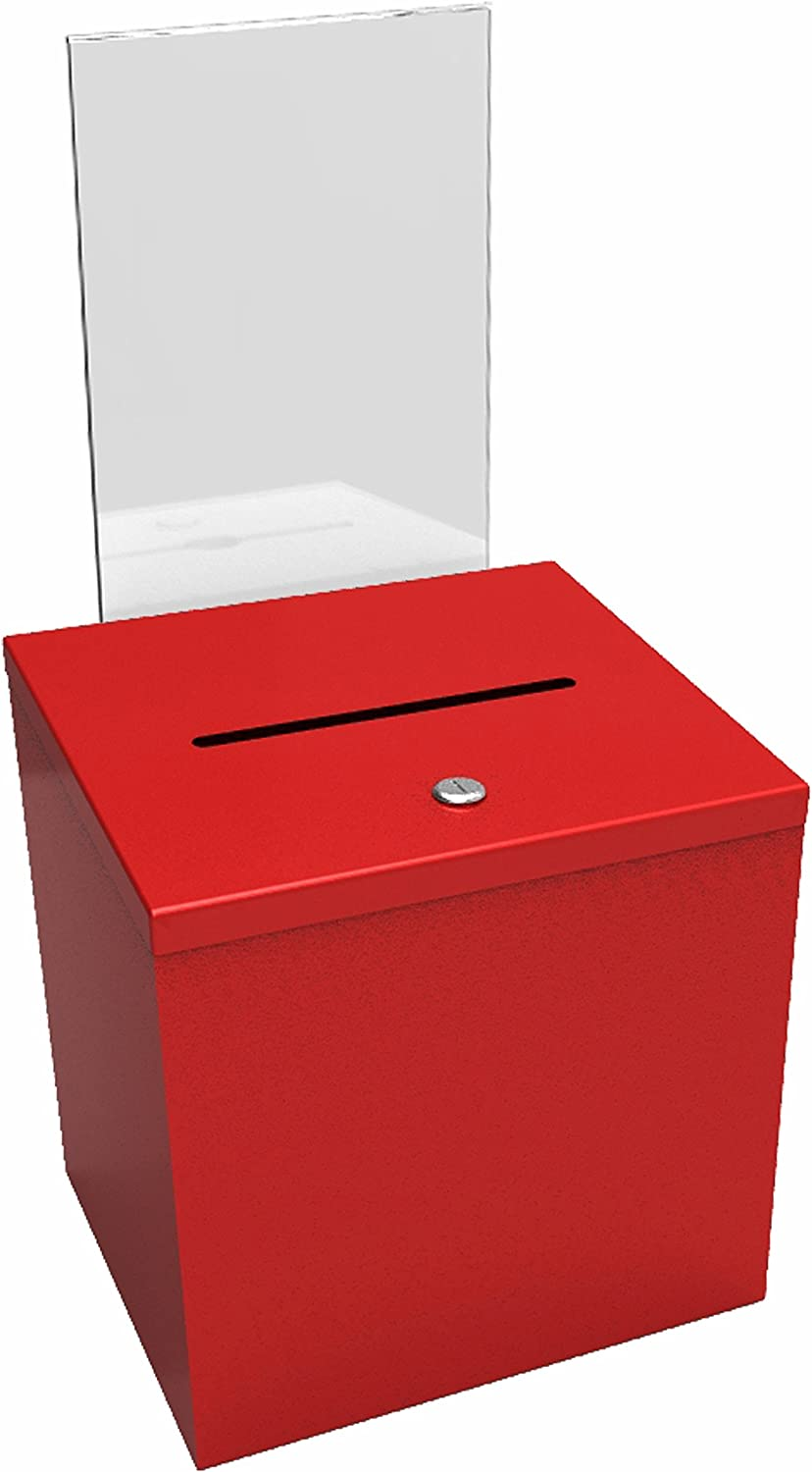FixtureDisplays RED Metal Donation Box Suggestion Charity Key Drop Fund Raising Sign Holder 11573RED