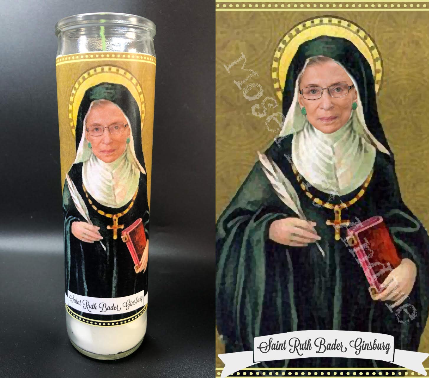 Mose Mary and Me Ruth Bader Ginsburg RBG Devotional Prayer Saint Candle