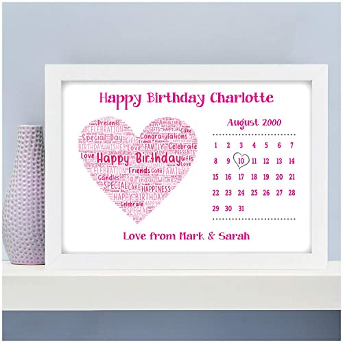 1st 10th 13th 16th 18th 21st 30th Personalised Birthday Gifts For Girls Her Daughter Mum Nanny Nan Auntie Niece Best Friends Love Heart ANY Date