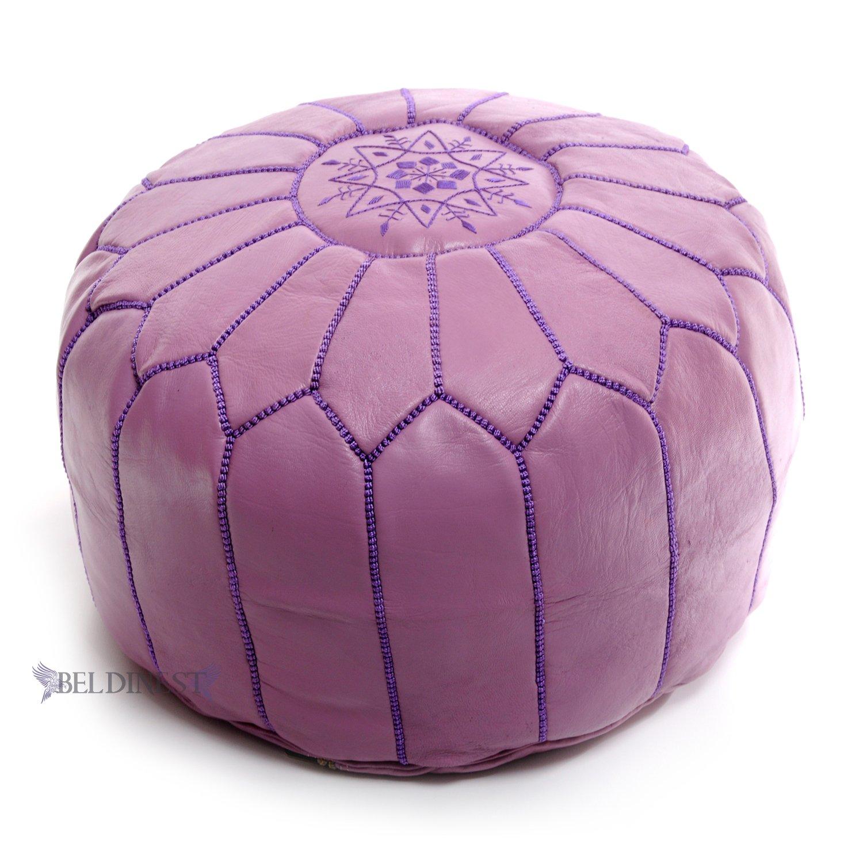 Stuffed Moroccan Lavender Leather Pouf, Handmade Ottoman, Pouffe