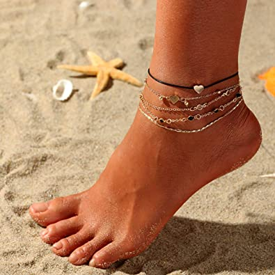GUAngqi Womens Fashion Bead Turtle Anklet Set Beach Barefoot Anklets Foot Chain Summer Jewelry Accessories