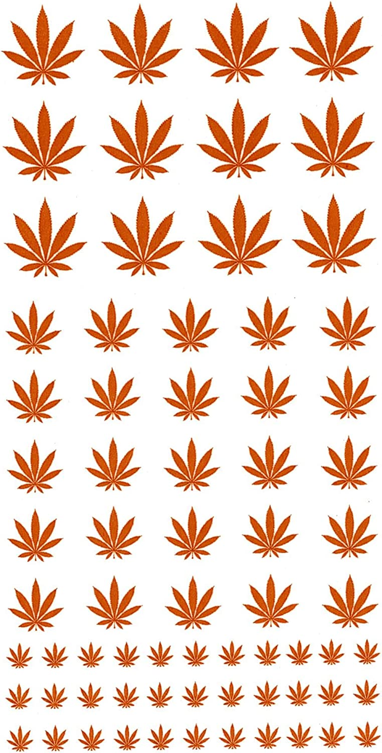 Must be kiln Fired Marijuana Leaf 70 pcs 1//4 to 3//4 Gold # 1173 Fused Glass Decals