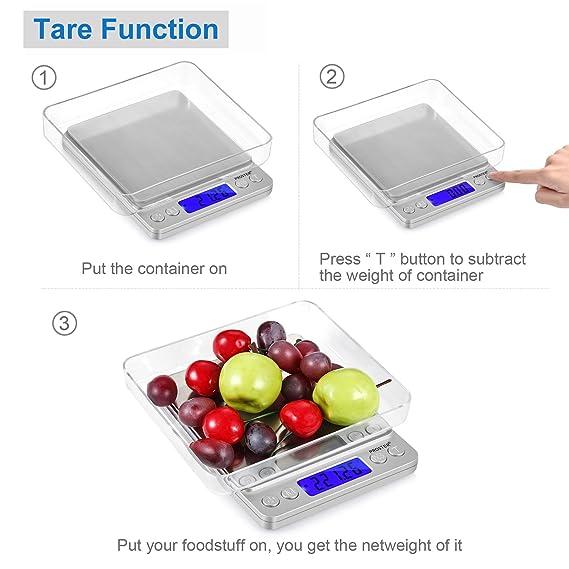 Proster Mini Escala Digital de Bolsillo 0.01-500g Escala Postal de Alta Precisión para Alimento de la Cocina, Pesar Gemas, Joyas y Otros Objetos Preciosos ...