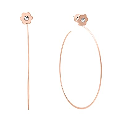 782b81fe31ca7 Amazon.com  Michael Kors Womens Rose Gold-Tone Flower Hoop Earrings ...