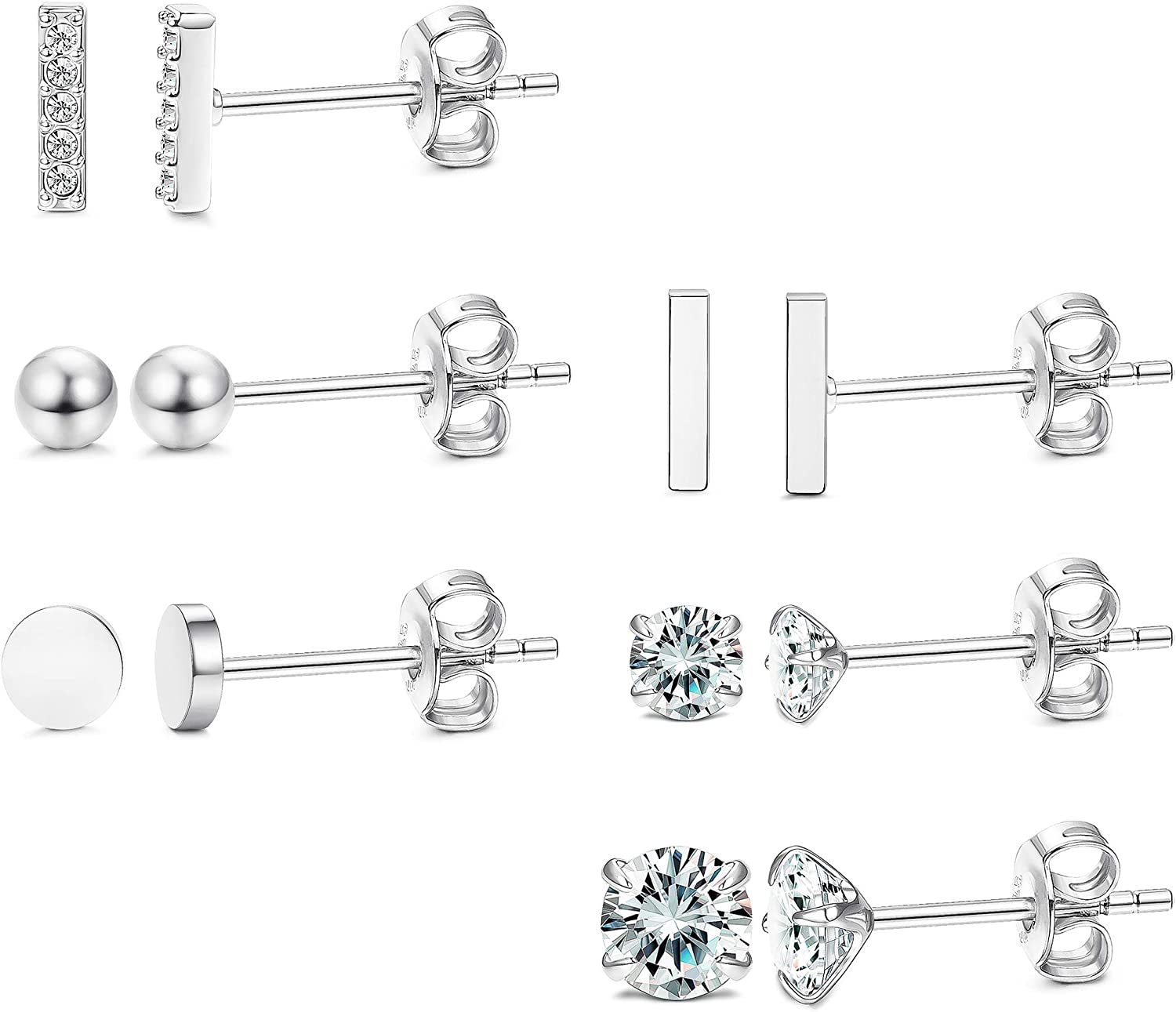 LOYALLOOK 6 Pairs 925 Sterling Silver Bar Stud Earrings Set Cubic Zirconia Tiny Ball Earrings for Men Women Simple Chic Earrings Set