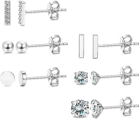 6mm COPPER /& STERLING STUDS w Pattern,Copper Studs,Tiny Studs,Silver Studs,Handmade Jewelry,Cute Studs,Bar Studs,Studs,Silver Bar Studs