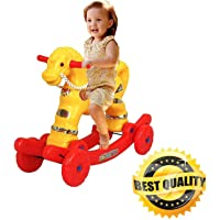 ARSDEWY Yellow Small Multi-Ride Horse Rocker Toy for Kids (Yellow)
