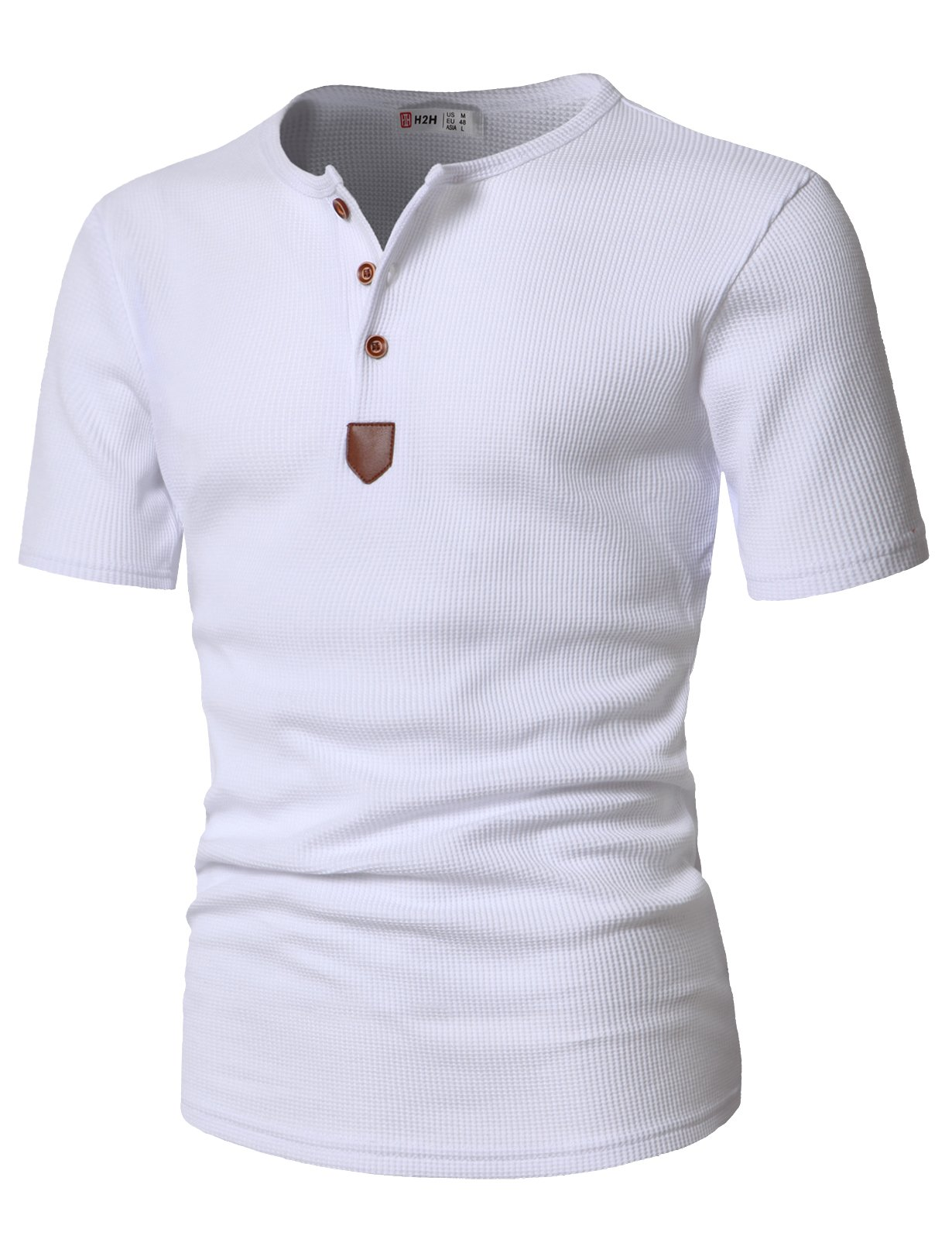 H2H Mens Casual Half Sleeve Henley Pullover T-Shirts Of WHITE US L/Asia XL (JDSK31) by H2H