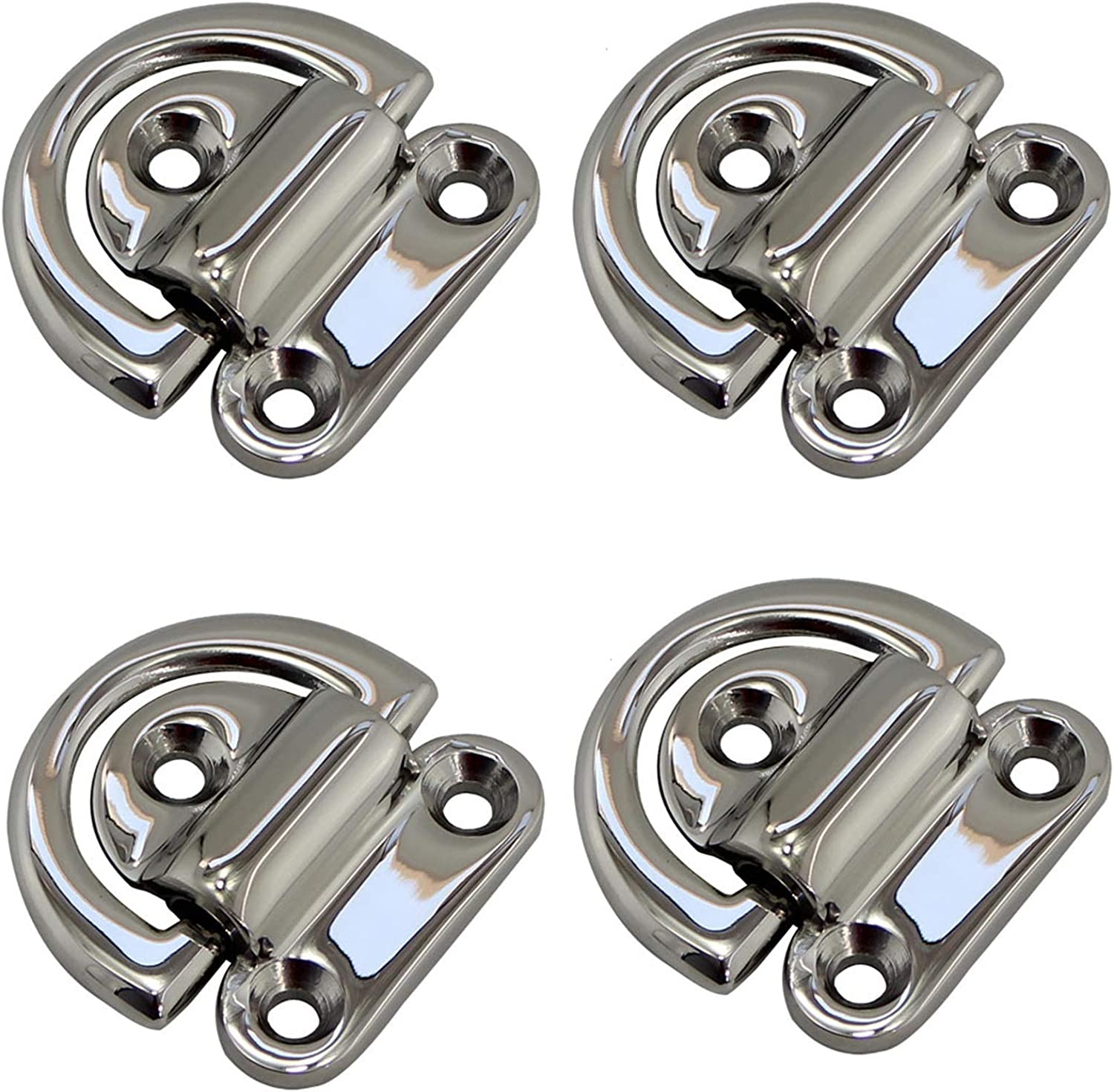 Durable Mirror Finish Stainless Boat Folding Pad Eye Stainless Steel 316 Marine Yacht Folding Pad Eye Cleat With D Ring 4pcs 6mm