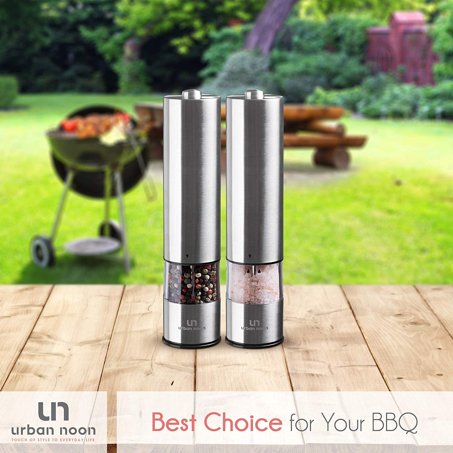 Battery Operated Stainless Steel Mill with Light Ceramic Grinders Electronic Adjustable Shakers - Automatic One Handed Operation Electric Salt and Pepper Grinder Set Pack of 2 Mills