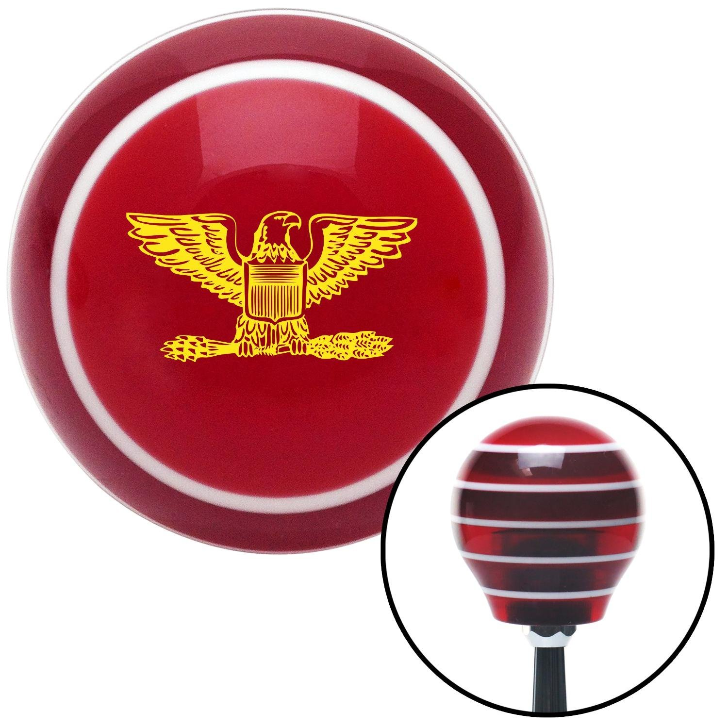 Yellow Coast Guard Captain Eagle American Shifter 115487 Red Stripe Shift Knob with M16 x 1.5 Insert