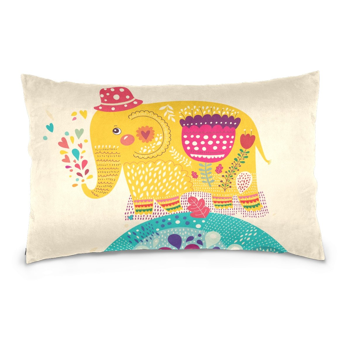 Pillow Covers Pillow Protectors Bed Bug Dust Mite Resistant Standard Pillow Cases Cotton Sateen Allergy Proof Soft Quality Covers with National Animal Elephant Pattern for Bedding