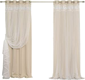 "Best Home Fashion Lace Overlay Thermal Insulated Solid Blackout Curtains - Stainless Steel Nickel Grommet Top - Beige - 52"" W x 63"" L - (Set of 2 Panels)"
