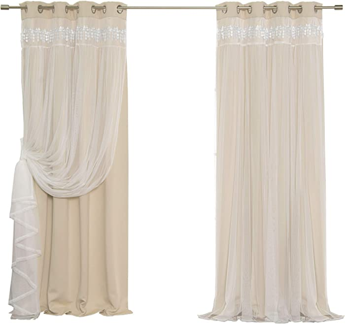 """Best Home Fashion Lace Overlay Thermal Insulated Solid Blackout Curtains - Stainless Steel Nickel Grommet Top - Beige - 52"""" W x 84"""" L - (Set of 2 Panels)"""