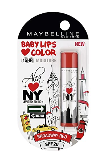 Maybelline Alia Loves New York Baby Lips Lip Balm, Broadway Red, 4g Lip Glosses at amazon