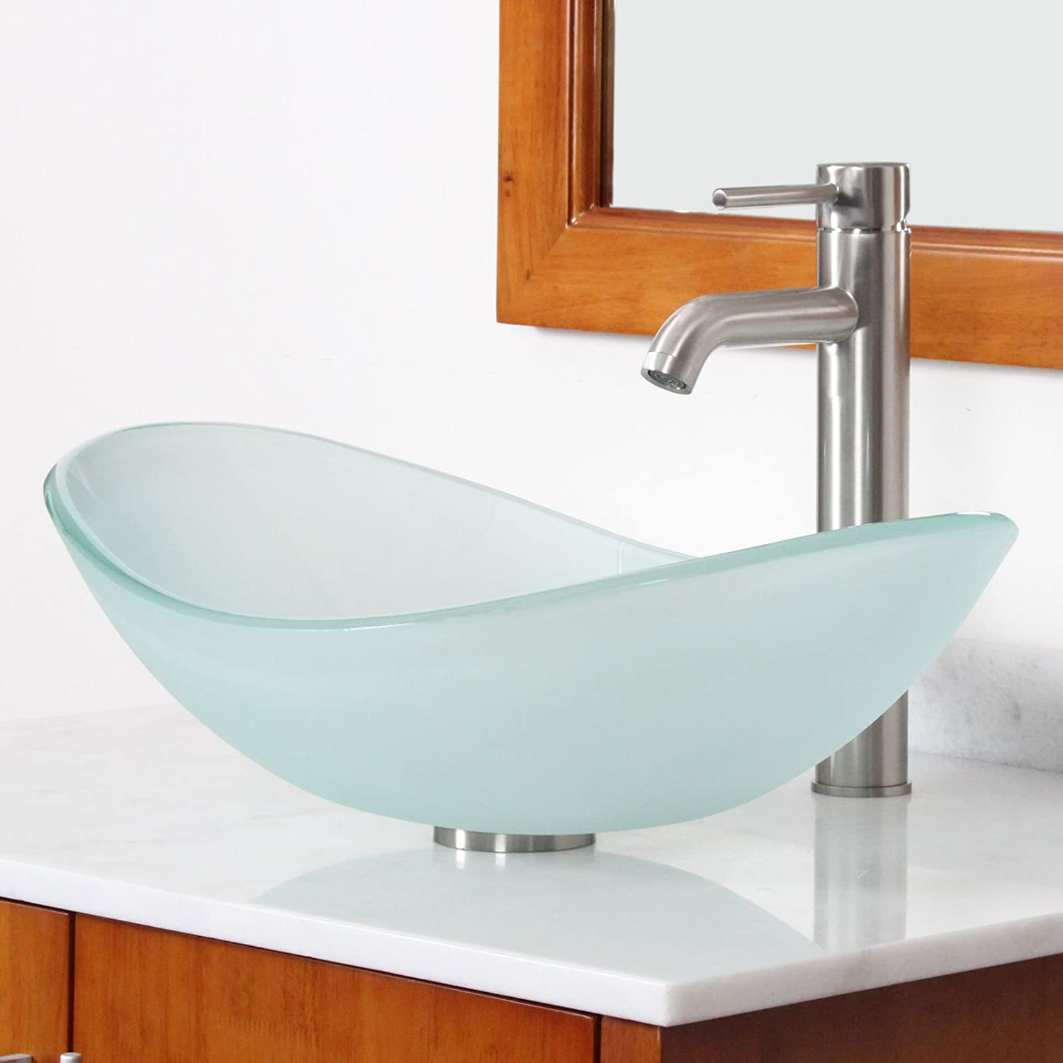 ELITE Bathroom Boat Shape Frosted Glass Vessel Sink & Brushed Nickel ...