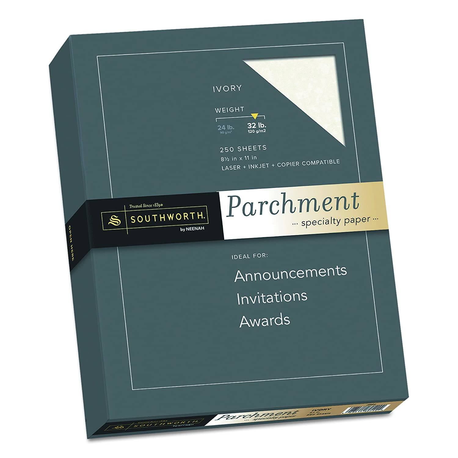 "Southworth Parchment Specialty Paper J988C 250 Sheets Тwo Рack Ivory 8.5/"" x 11/"" 32 lb"