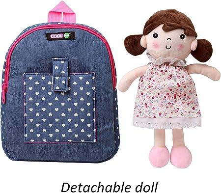COOLDOT Mochila de Felpa con Peluche para niños pequeños con muñeco/a extraíble Bolsa Infantil para niños/as de 3 años o más