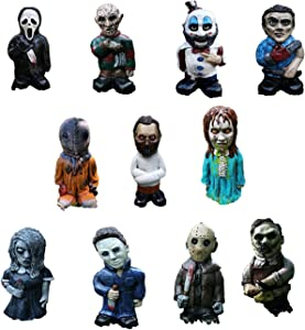 11 pcs Horror Movie Gnomes Garden Decoration Nightmare Statues Michael Myers Freddy Jason Leatherface 5 inch Figurines Outdoor Lawn Decor (11 pcs)