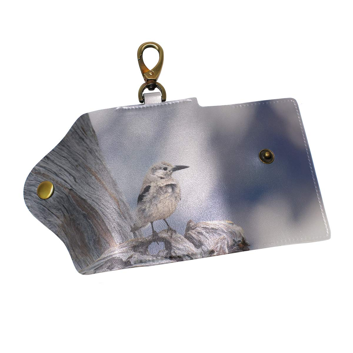 KEAKIA Bird Leather Key Case Wallets Tri-fold Key Holder Keychains with 6 Hooks 2 Slot Snap Closure for Men Women