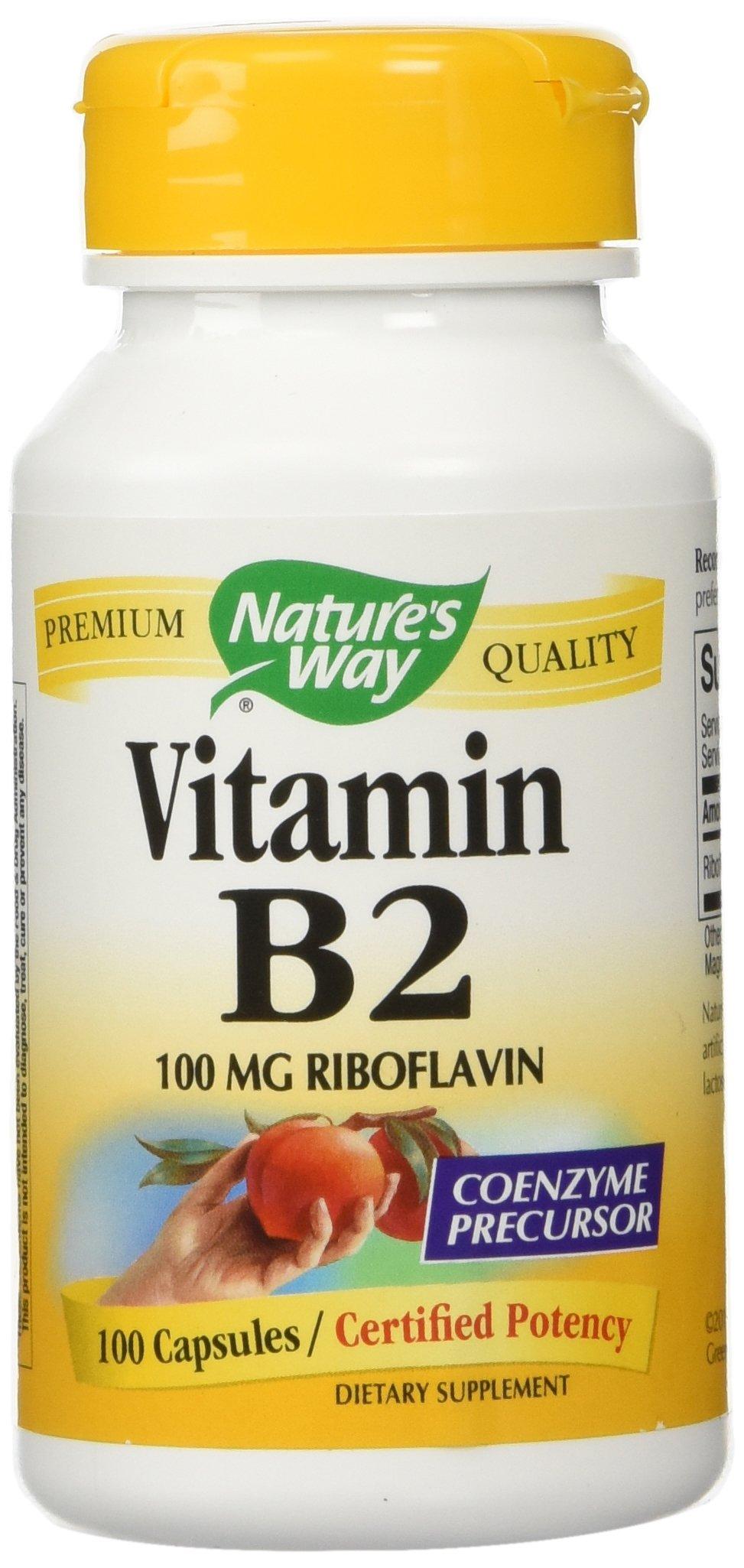 Nature's Way Vitamin B2 100 mg Riboflavin, 100 Capsules (Pack of 2)