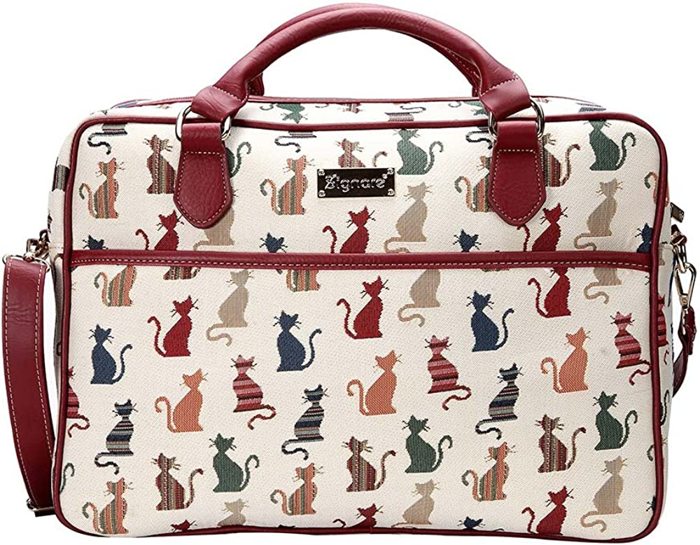 Signare Tapestry Laptop bag 15.6 computer messenger bag briefcase for Women with Cheeky Cat Design (CPU-CHEKY)