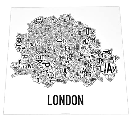 Map Of London With Neighborhoods.Amazon Com Central London Neighbourhoods Map Poster Black White