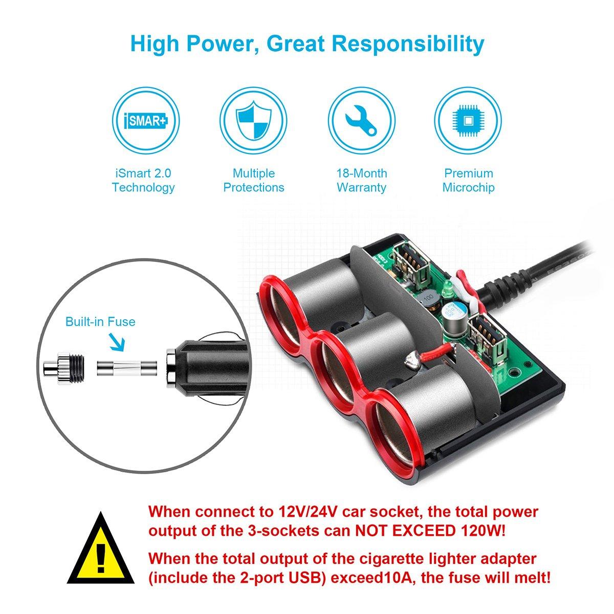 Cigarette Lighter Adapter 120w 3 Socket Car Usb Charger Circuit Design Schematic Splitter 34a Dual Dc 12v 24v Outlet Multi Functions