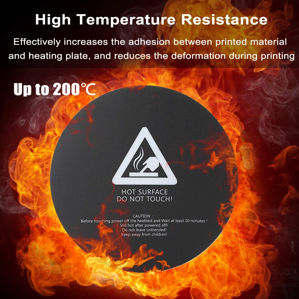 Wendry 300mm Round 3D Printer Accessories Hot Bed Board Board Frosted Adhesive Print Paper Sticker Tape 3D Printer Heat Bed Platform Sticker Sheet