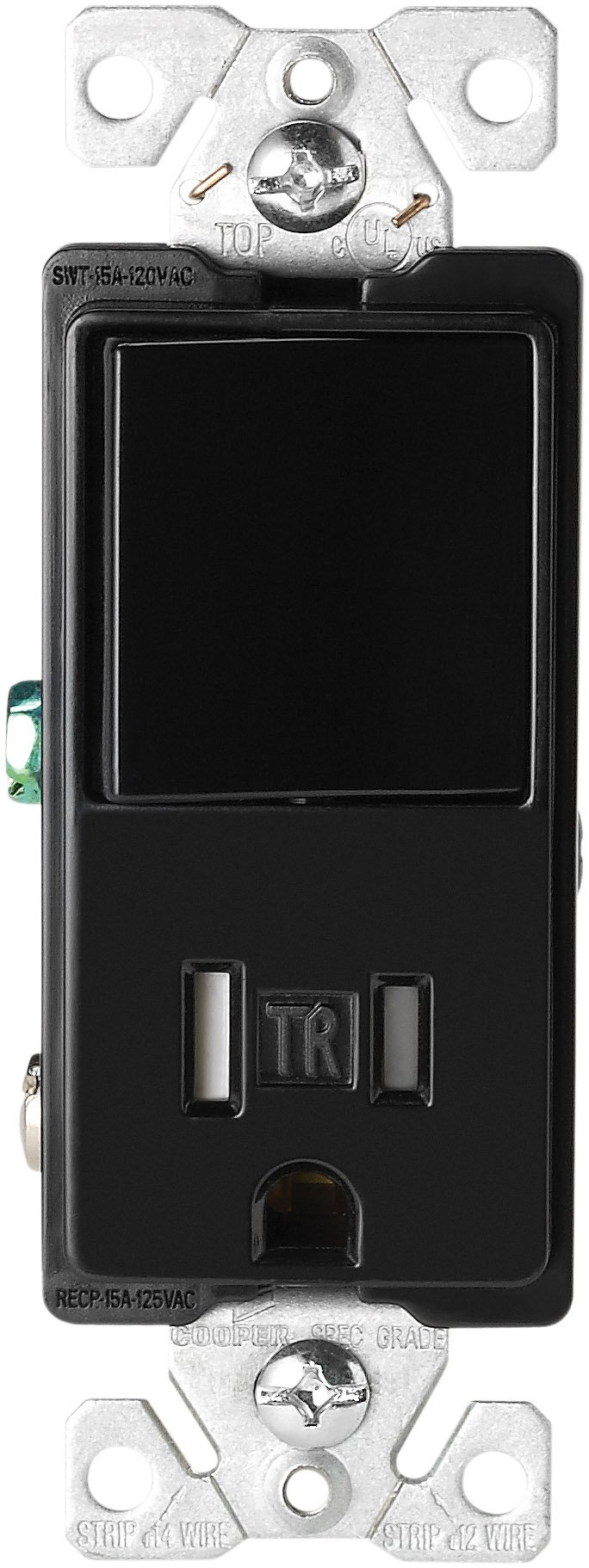 EATON Wiring TR7730BK 15-Amp 3-Wire Tr Receptacle 120V Decorator Combination Single-Pole Switch with 2-Pole, Blackblack