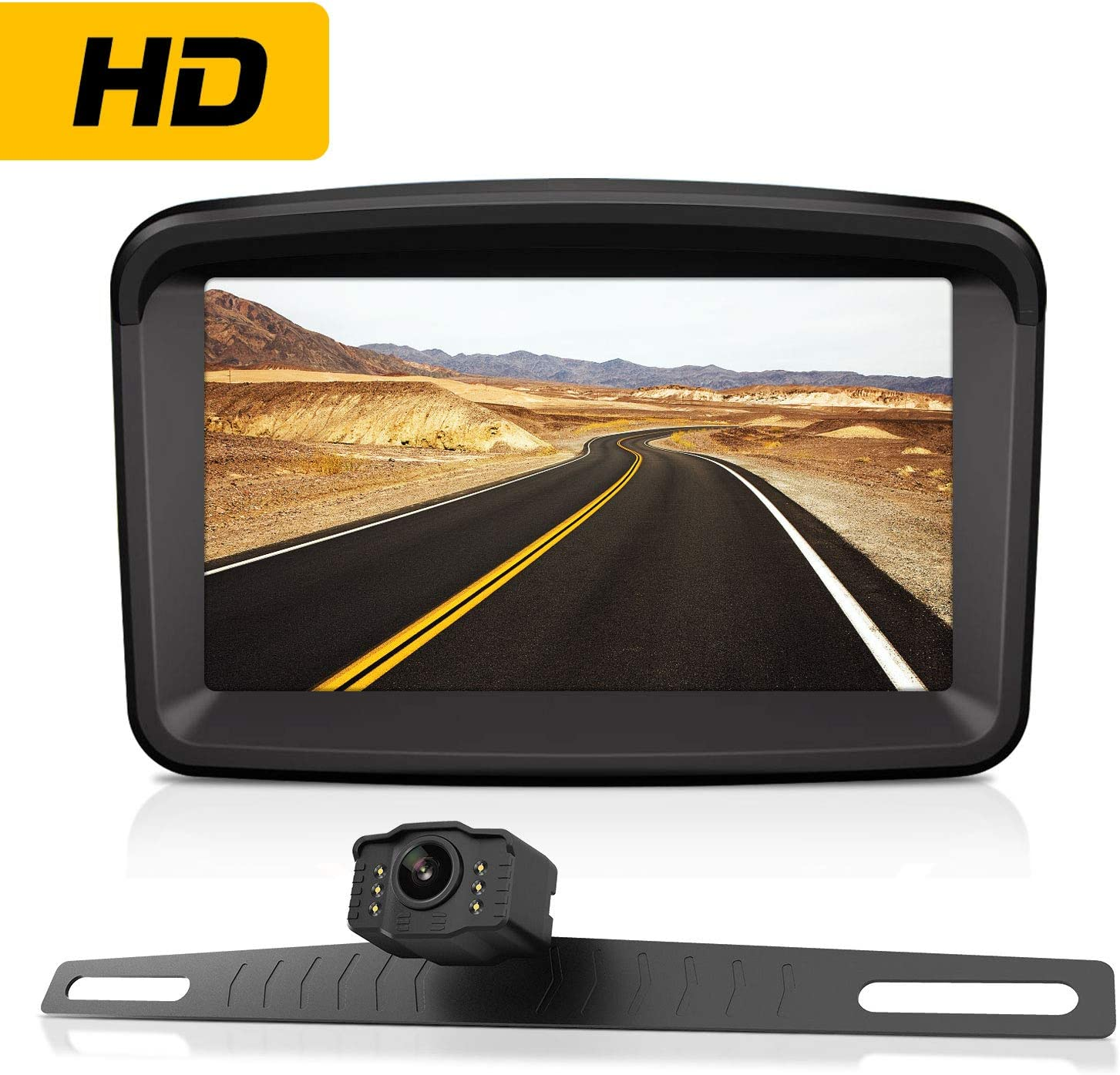 "Xroose Backup Camera with 5"" Monitor License Plate Mounted Back up Rearview HD Camera Night Vision"