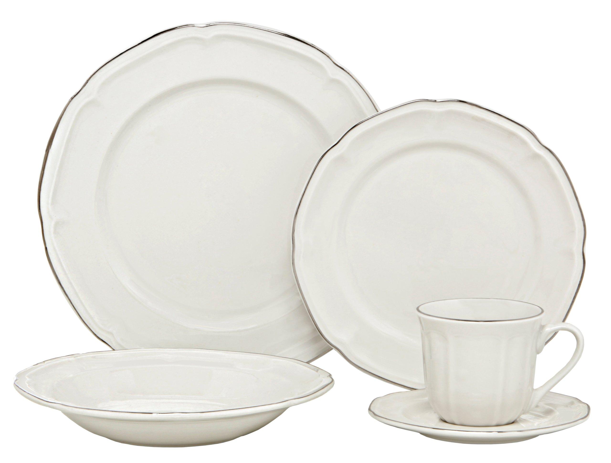 Melange Nouveau Classic Porcelain 40-Piece Place Setting, Platinum, Serving for 8