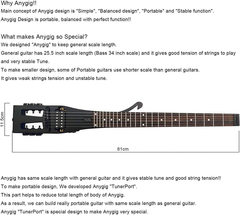 Anygig Guitarra eléctrica de Viaje 24 trastes a Escala Completa Mate: Amazon.es: Hogar