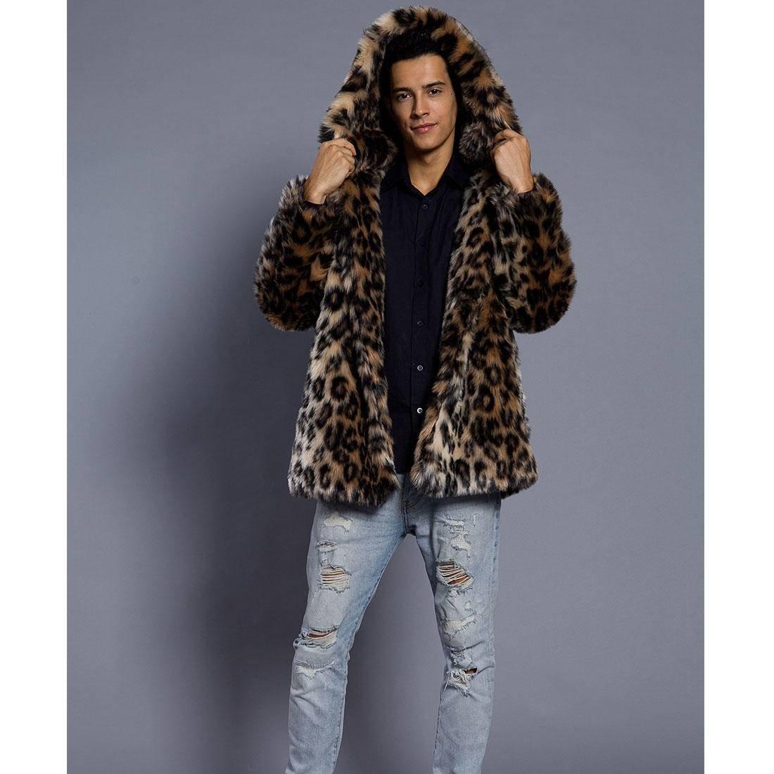 Pelzmantel Mit Kapuze Kunst Kunst Kunst Felljacke Herren Leopard Muster Design Wind Coat,AKAUFENG Winterjacke Mantel Kunstpelz lange Jacke Faux Fur B076ZSFQ6Z Mntel Saisonale Förderung 92662f