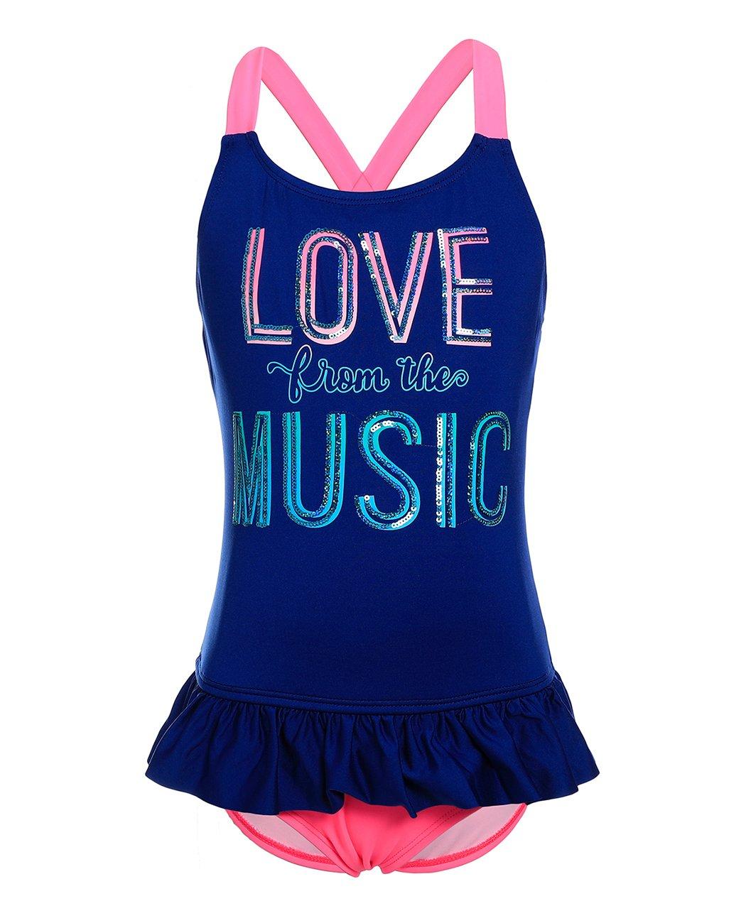 iDrawl Girls One Piece Skirty Swimwear Beach Criss Cross Swimsuit