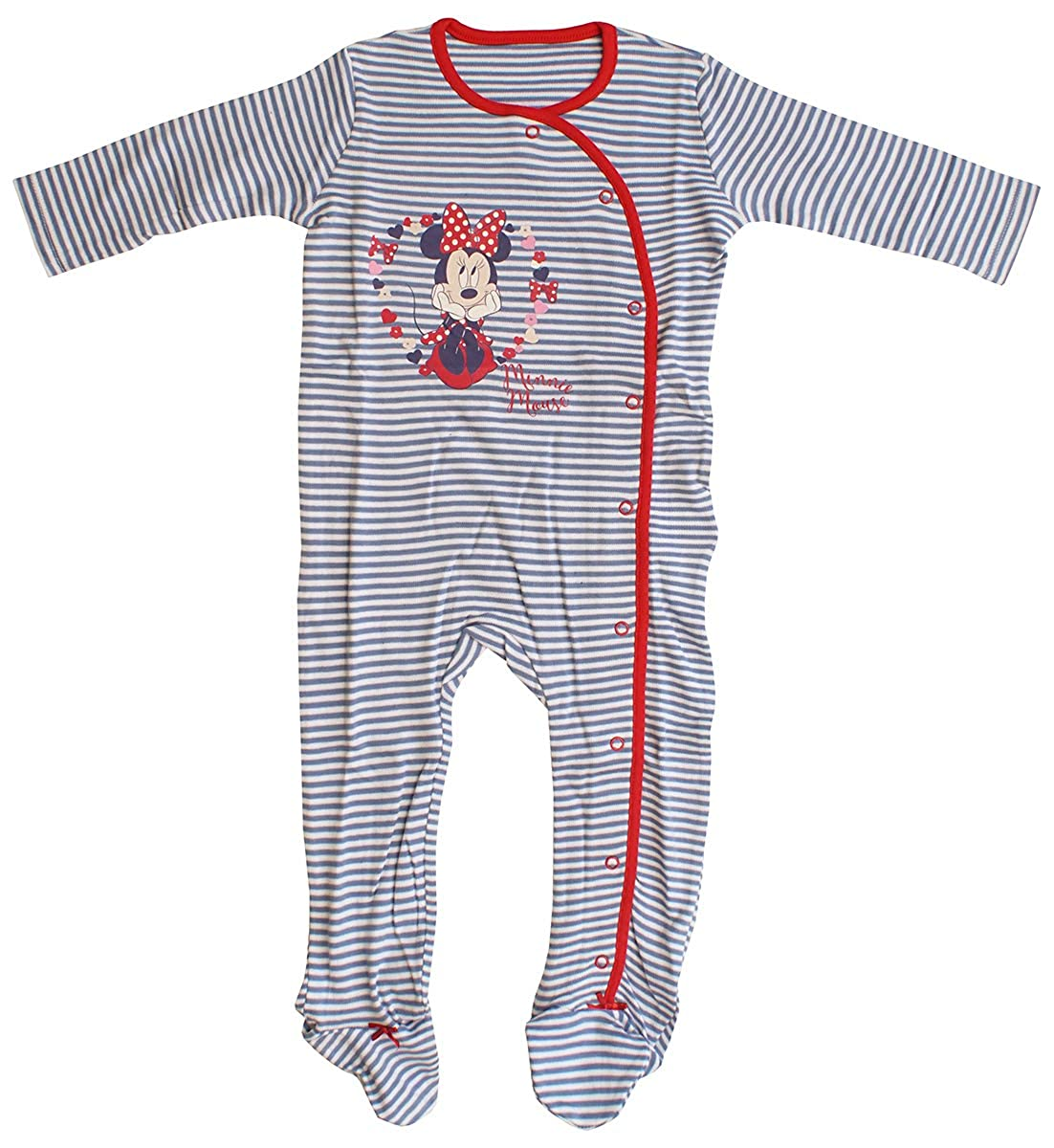 Girls Baby Disney Minnie Mouse Stripe Sleepsuit Romper Sizes from Newborn to 18 Months