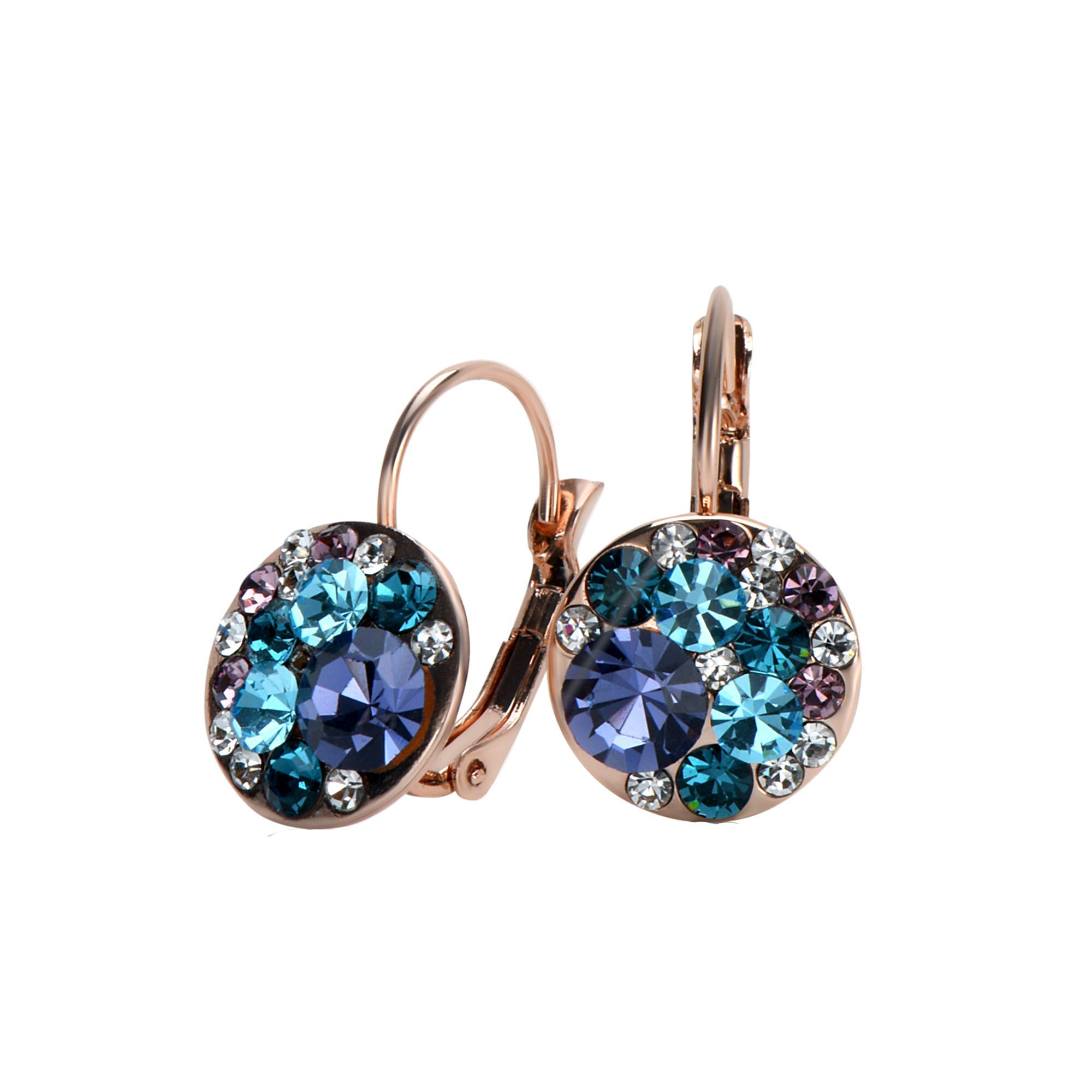 UPSERA Colorful Dangle Leverback Earrings for Women Made with Swarovski Crystals 18k Rose Gold or Silver Tone Plated Fashion Drop Jewelry Gift for Her - Blue Tanzanite