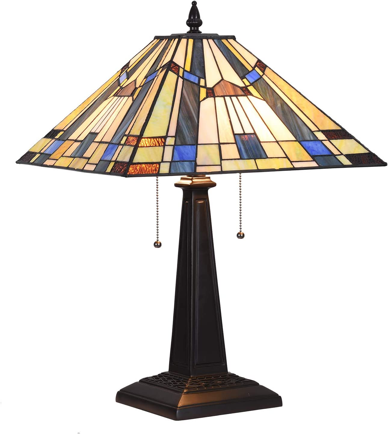 "Stained Glass Desk Lamp, Capulina Handcrafted 15.9"" Mission Tiffany Lamp Table Shades, Timeless Art Stunning Tiffany Desk Lamp, Enhance Home, Office, Desk, Entry, Living Room - Gothic Glass Styles"