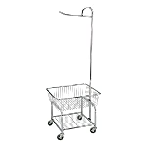 Household Essentials 6028-1 Rolling Laundry Cart with Hanging Bar - Chrome Finish