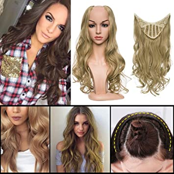 "Wavy Half Wig 24"" Long Japanese Synthetic Hair Clip in on U Shape Wig for 20576b7dd5"