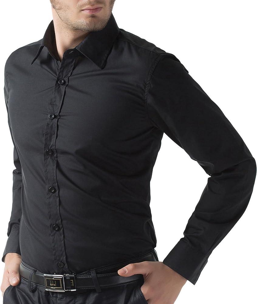 357b53c2420631 Men's Casual Business Slim Fit Shirt Button Down. Black Slim Fit Dress  Shirts for Men Long Sleeve 1044-1 3XL