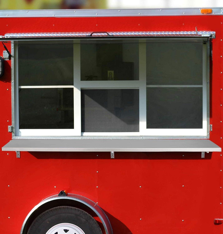 RecPro 72 Inch Concession Shelf | NSF Approved Aluminum | Drop Down Folding Shelf | Serving Food Shelf | Food Stand Serving Shelf