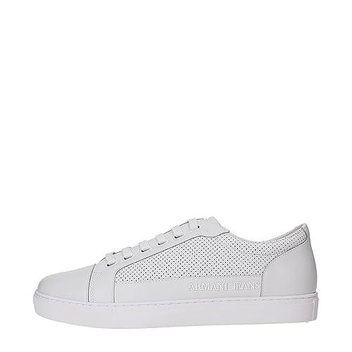 Jeans Uomo Armani Sneakers Pelle 45Amazon 6a423 Bianco Aj CxoerBd