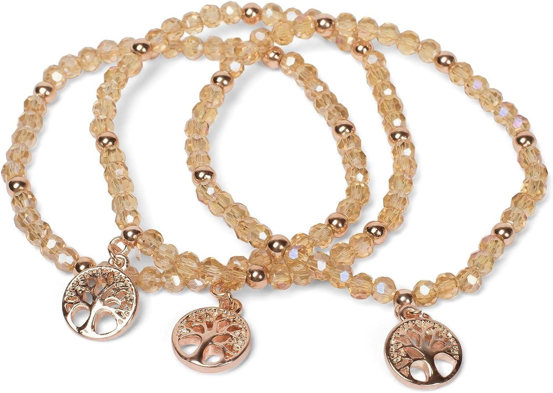 styleBREAKER Set de 3 Pulseras de Perlas con Colgante «Charm» del árbol de la Vida, elástico, Pulsera de Bolas, bisutería, señora 05040138