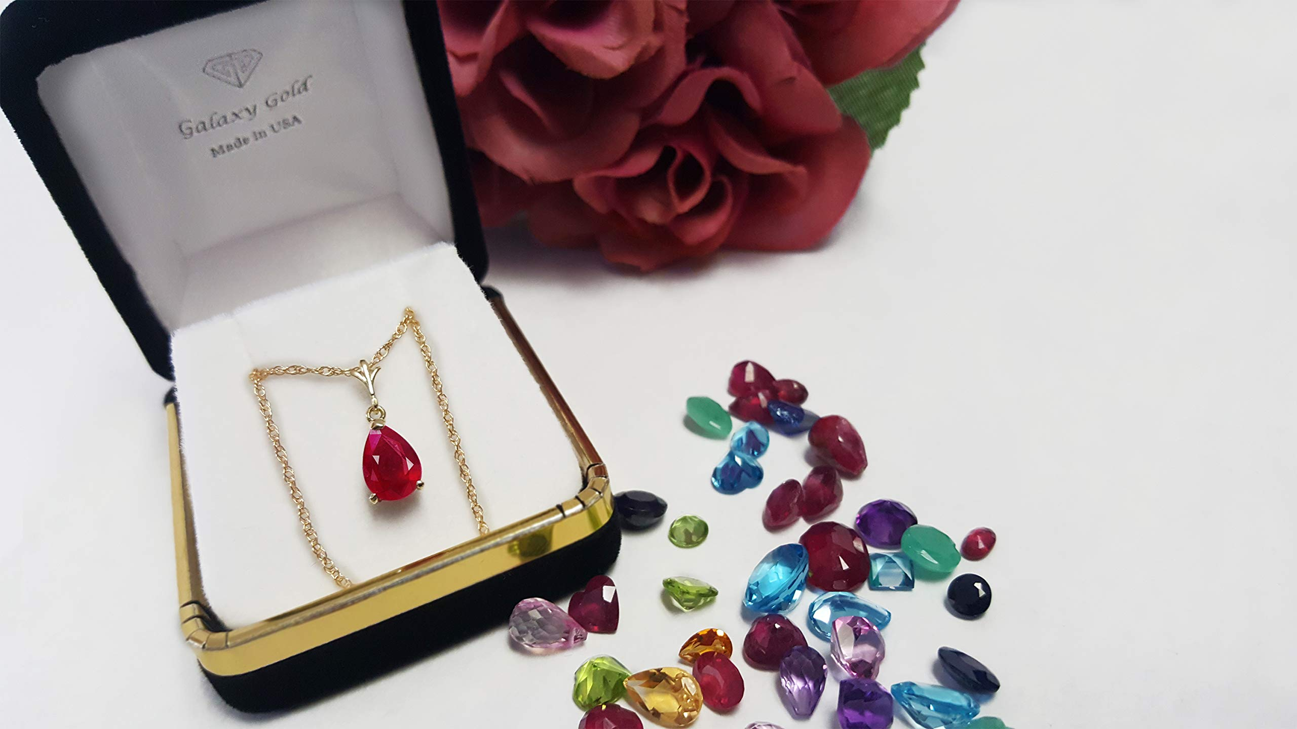 Galaxy Gold 1.75 Carat 14k 18'' Solid Gold Natural Pear-shaped Ruby Drop Pendant Necklace by Galaxy Gold (Image #5)
