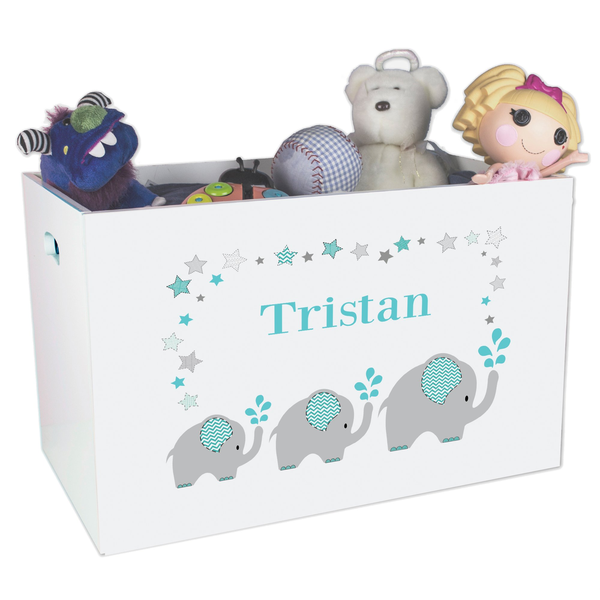 Personalized and Teal Elephant Childrens Nursery White Open Toy Box