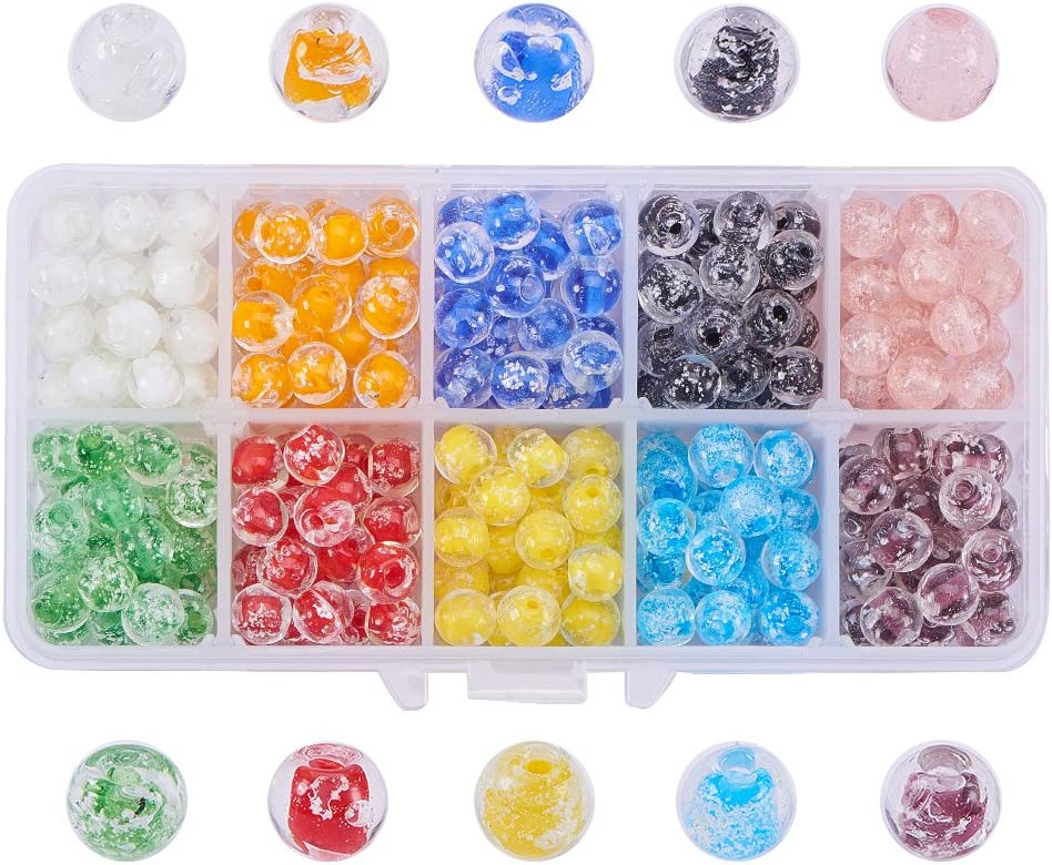 PH PandaHall 1440pcs 24 Color 6mm Crackle Lampwork Glass Beads Handcrafted Round Bracelet Beads Assortment Bulk for Jewelry Making